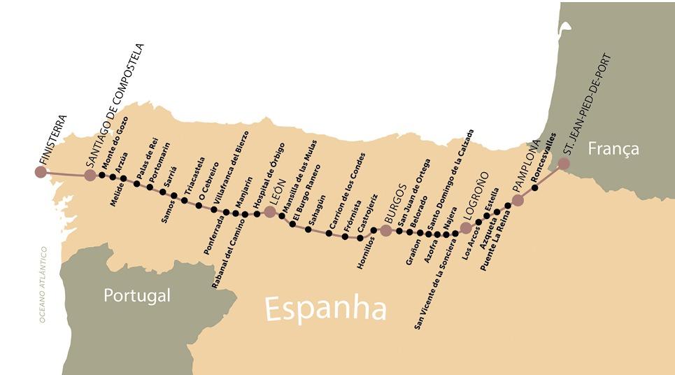 Mapa do Caminho de Santiago