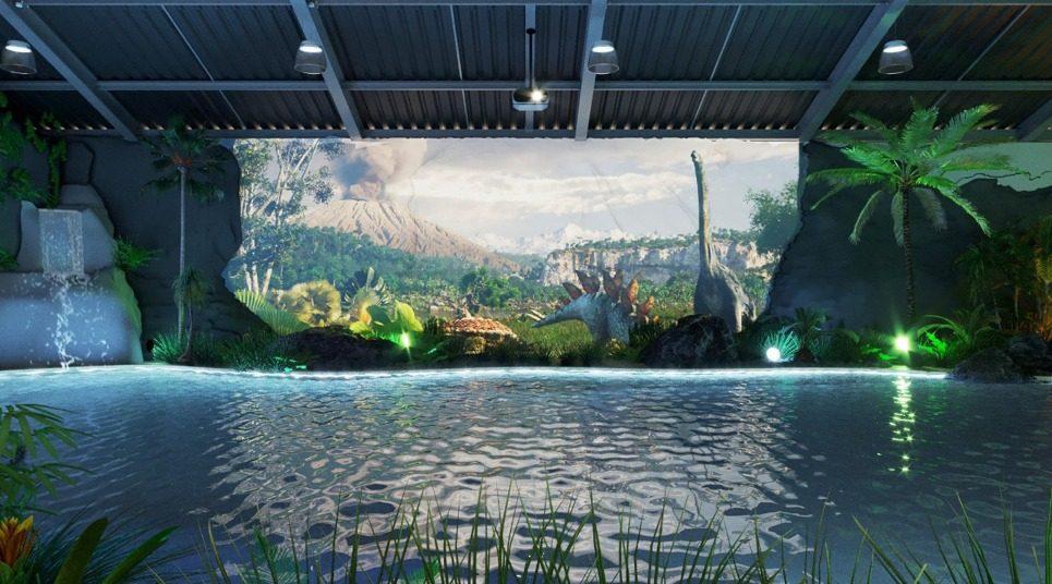 A piscina com projeção mapeada do Brotas Eco Resort