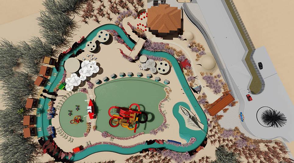 Vista aérea em perspectiva do Pratagy Acqua Park