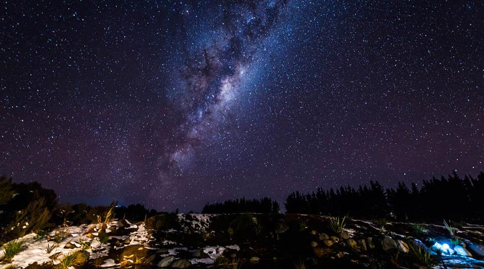 Estrelas no céu da Nova Zelândia