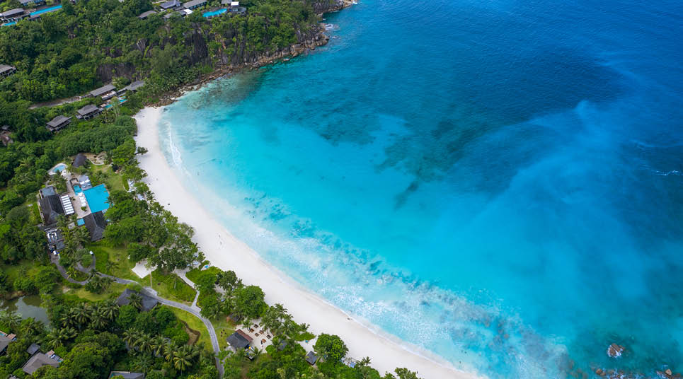 Vista aérea de Mahé, em Seychelles