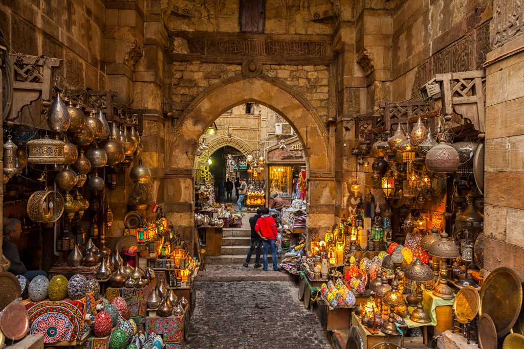 O mercado árabe Khan El Khalili